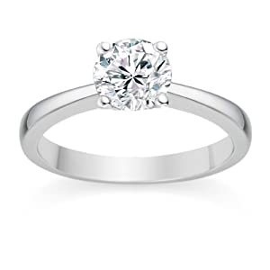0.58 Carat F/VS2 Round Brilliant Certified Diamond Solitaire Engagement Ring in 18k White Gold