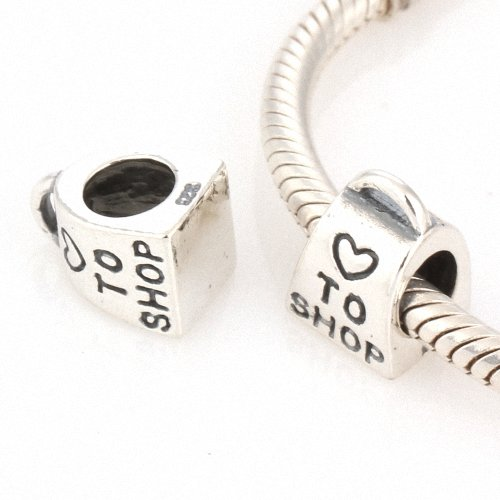 Taotaohas-(1Pc) Oxidized Antique 100% Solid Sterling 925 Silver Charms Beads, [ Name: I Love Shopping ], Fit European Bracelets Necklaces Chains, Troll, Biagi Glass Beads