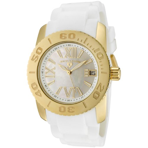 Swiss Legend Women's 10114-YG-02MOP Commander White Polyurethane and Yellow Gold Tone Watch