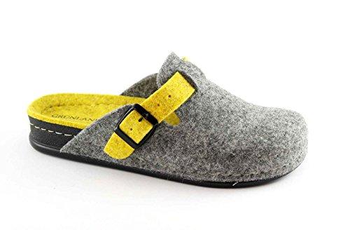GRUNLAND REPS CI0795 grigio giallo ciabatte donna panno fibbia 39