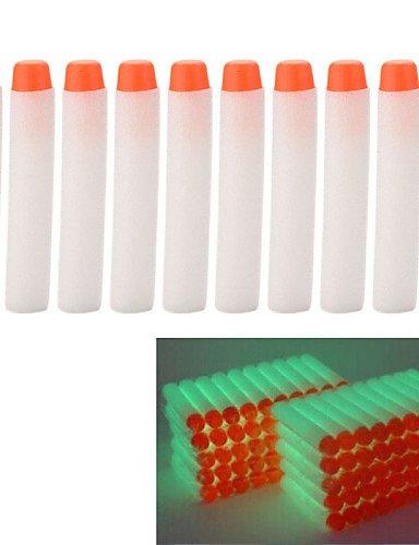 ANPD 10 pcs 7.2cm Glow in the Dark White Foam Darts for Nerf N-strike Elite Series (Glow In The Dark Toy Parachute)