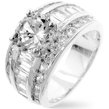 White Gold Rhodium Classic Anniversary Ring with 2 Carat Centerpiece Crowned on Step Baguette and Channel Set Round CZ in Silvertone, 8