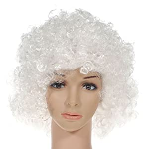 Party Disco Rainbow Afro Clown Hair Football Fan Adult Child Costume Curly Wig White by BigbigMall Co., LTD