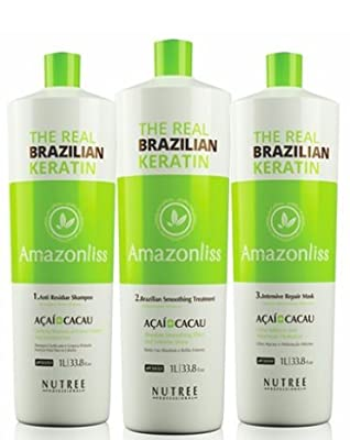 Amazonliss Brazilian Keratin Kit for Thermal Reconstruction Blowout Shampoo, 1L Smoothing Treatment, 1L Mask