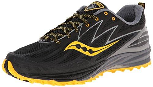 Saucony Men\u0027s Peregrine 5 Trail Running Shoe, Black/Yellow,11.5 M US