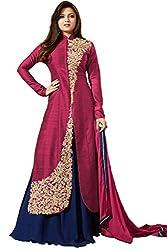Metroz Pink Cotton Silk Embroidered Straight Salwar Kameez with Dupatta