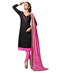 Fabgruh Beautiful Black Colours Dress Material FG-2DRG13008