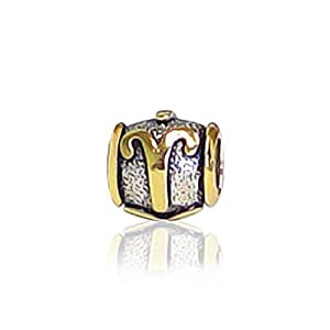 Bling Jewelry Gold Plated Sterling Silver Aries Zodiac Bead Pandora Compatible