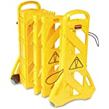 "Rubbermaid Commercial Portable Mobile Safety Barrier, Plastic, 1"" x 13 ft x 40"", Yellow - one barrier, two wheels, and four locking straps."