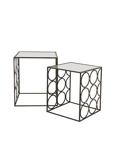 Three Hands Set of 2 Contemporary Metal Beveled Mirror Side Tables, Black As You See