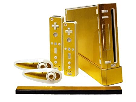 Nintendo Wii Skin - NEW - BRUSHED GOLD system skins faceplate decal mod