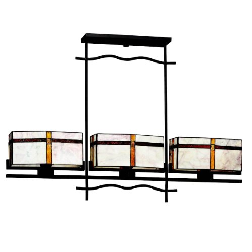 65308 Tacoma 3LT Linear Pendant, Olde Bronze Finish and Art Glass Shades