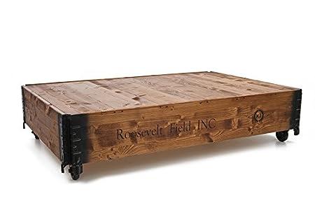 Coffre table basse en bois rétro style maison de campagne shabby chic bois de noyer