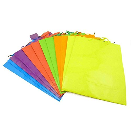 Adorox Large Bright Neon Colored Party Present Gift Bags Wrap Paper Birthday Wedding (Assorted (12 Bags))