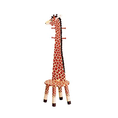 Giraffe High Backed Wooden Kids Stool with Coat Rack
