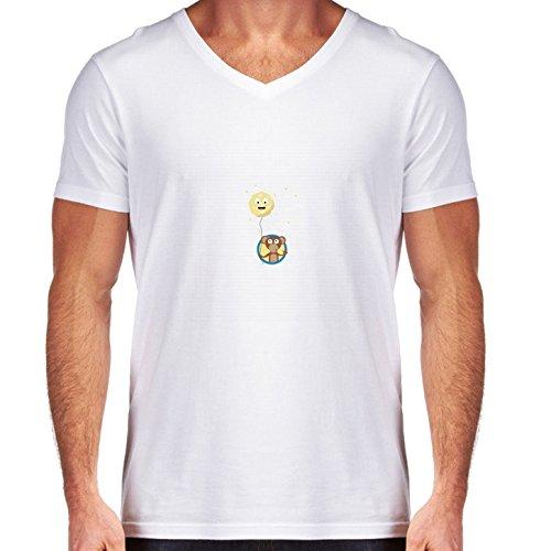t-shirt-bianco-scollo-a-v-uomo-taglia-s-scimmia-con-la-luna-amichevole-sulla-by-ilovecotton