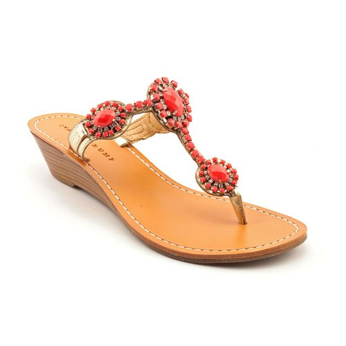 Ivanka Trump Women'S Jody Wedge Sandal,Coral Stones/Gold Leather,10 M Us front-685884