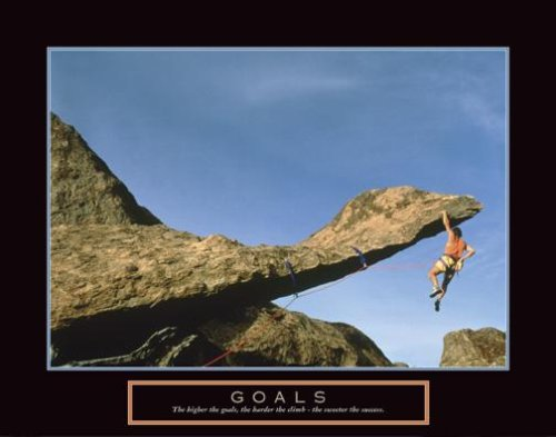 Goals Rock Climber Motivational Poster Inspirational Art Print Climbing Gear Ropes