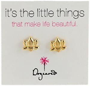 """Dogeared """"It's the Little Things"""" Gold-Plated Silver Lotus Post Earrings"""