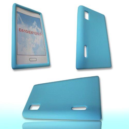 Original Handycop® SILIKON Case BABYBLAU für LG E610 Optimus L5 - Tasche Silicon Schutz Schutzhülle Hülle Sleeve Blau