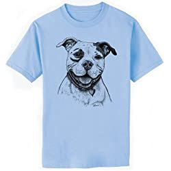 Happy Pittie Pit Bull Terrier Dog Art T-Shirt, 5XL, Light Blue