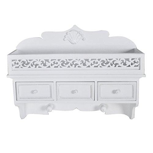 Étagère murale en bois avec 3 tiroirs blanche portemanteau armoire
