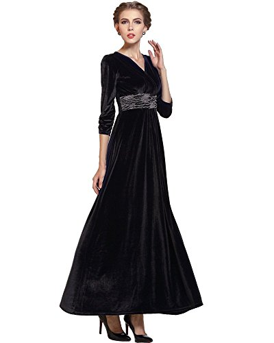 Yibeizi Black Formal Long Velvet Dress Evening Party Gown Incl Plus Size