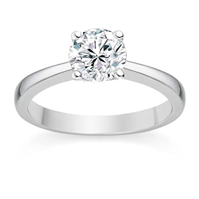 1/4 Carat D/VS1 Round Brilliant Certified Diamond Solitaire Engagement Ring in 18k White Gold