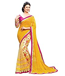 Exclusive aryaa fashion Yellow net saree with blouse