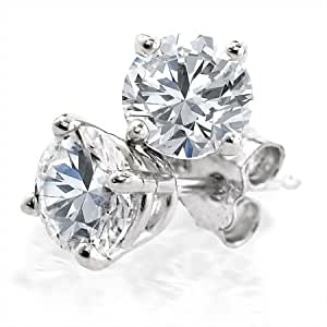 1/4 Ct. tw Diamond Stud Earrings in 14K White Gold (4-Prong, Round-Cut, H-I, I2-I3)