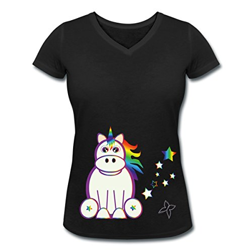 Licorne-En-Arc-En-Ciel-Tee-shirt-col-V-Femme-de-Spreadshirt