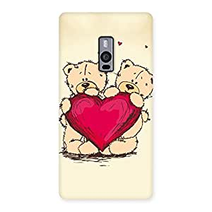 Gorgeous Cute Heart Twin Teddy Back Case Cover for OnePlus Two