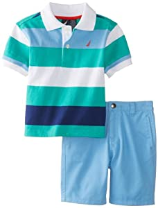 Nautica Baby-Boys Infant 2 Piece Stripe Polo Solid Short Set by Nautica