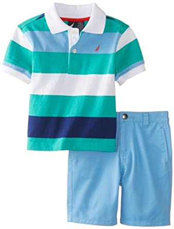 Nautica Baby-Boys Infant 2 Piece Stripe Polo Solid Short Set, Light Jade, 12 Months