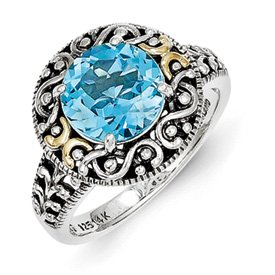 Genuine IceCarats Designer Jewelry Gift Sterling Silver W/14K Blue Topaz Ring Size 8.00