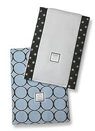 SwaddleDesigns Baby Burpies, Brown Mod Circles on Pastel Blue (Set of 2 Burp Cloths)