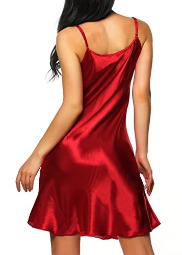 Cabreao Satin Nightgowns Babydoll Nighties Sexy Sling V-neck Trim Satin Chemises
