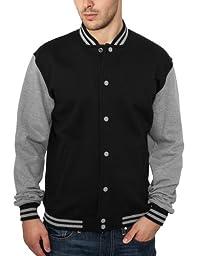 Urban Classics 2-tone College Sweatjacket, Color:blk/gry;Größe:M