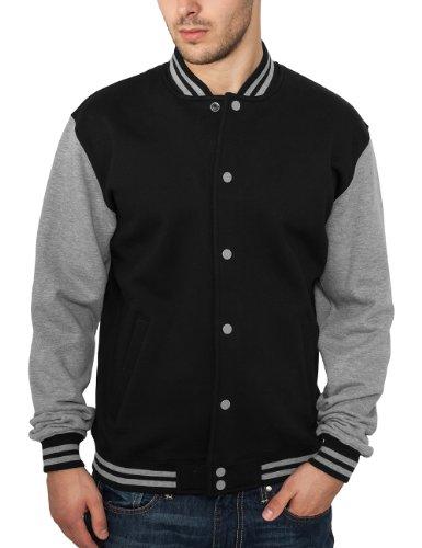 Urban Classics - Bekleidung 2 Tone College Sweatjacket, Felpa Uomo, Multicolore (Black/Grey), X-Large (Taglia Produttore: X-Large)