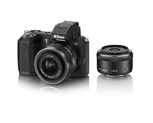 Nikon ミラーレス一眼 Nikon 1 V2 ダブルレンズキット 1 NIKKOR 18.5mm f/1.8 /1 NIKKOR VR 10-30mm f/3.5-5.6付属 ブラック N1V2WLKBK