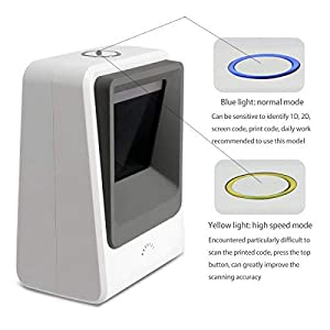 Omnidirectional Desktop Bar Code Reader with USB Cable White Capture Barcodes from Mobile Phone Screen Alacrity Handsfree 2D 1D Wired Barcode Scanner