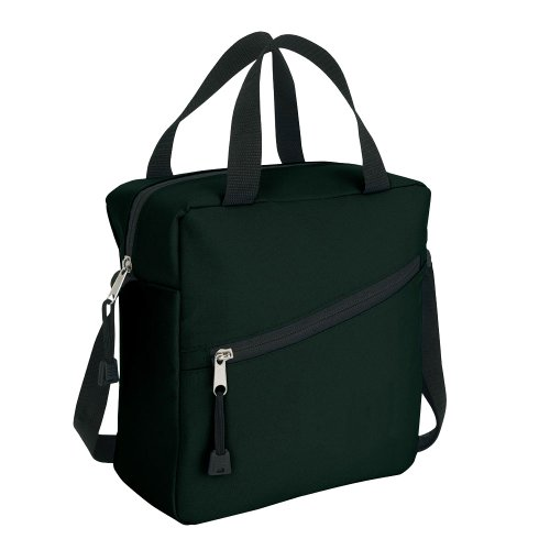 Black polyester Cooler Lunch Cool Bag with Carry Handle and Shoulder Strap