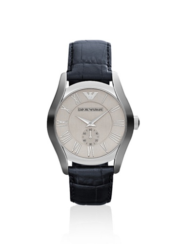 Emporio Armani Men's AR1666 Blue/Silver Leather Watch