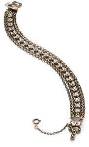 "Sorrelli "" Andalusia"" Linked Chain and a Silk Rhinestone Chain on a Multi-Strand Bracelet"