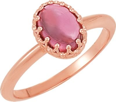 Jewelplus Crown Design Cabochon Ring 14K Rose Completely Set