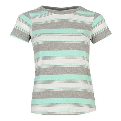 Lee Cooper-Maglietta Yarn Dye maglietta Ladies a maniche corte scollo rotondo estate Top Abbigliamento Grey M/Aqua XX-Large