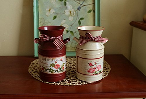 VANCORE(TM) French Style Rustic Shabby Chic Mini Metal Vase Holder Can Container with Tied Bands and Flower Decoration 5