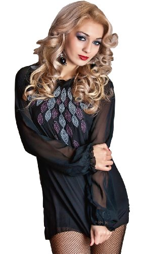 black chiffon neck embroidery autum spring summer Floral Elegant mini club pleated frills Evening Cocktail top or mini Dress Size 8 , 10, available long sleeve party or wedding