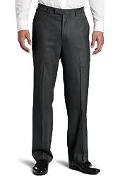 Savane Men's Sharkskin No Iron Comfort Flex Waistband Flat Front Dress Pant