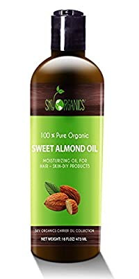 Best Sweet Almond Oil by Sky Organics 16oz- 100% Pure, Cold-Pressed, Organic Almond Oil. Great As a Baby Oil- Works Wonder On Wrinkles- Anti-Aging. #1 Rated Almond Oil- Carrier Oil for Massage